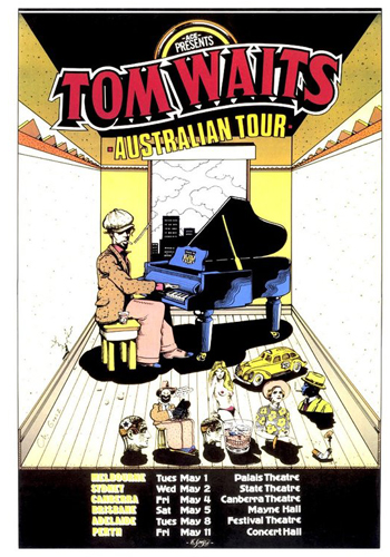 Tom Waits poster design and art by Chris Grosz