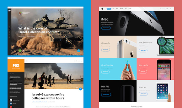 Left: Google News by George Kvasnikov / Right: Apple Store by Amber Creative