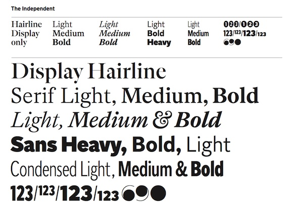 The Independent newspaper fonts