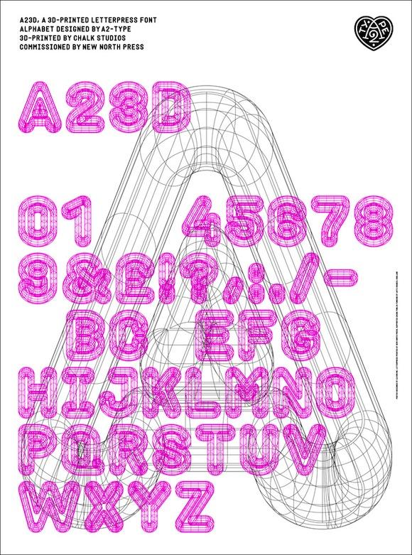 A23D, Letterpress alphabet, 3d printed for New North Press, London 2014.