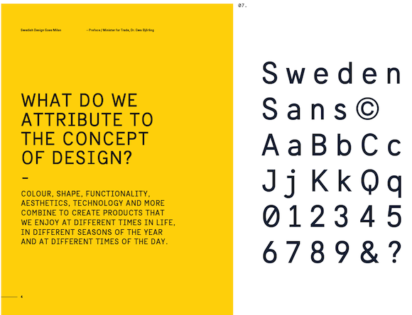 Sweden Sans used in a brochure for 'Swedish Design Goes Milan'.