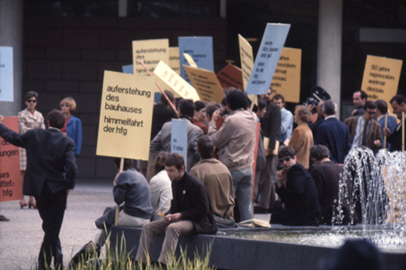 hfg students demonstrate in Stuttgart against the threatened closure of the school, 4 May 1968 Photo by Herbert Kapitzki
