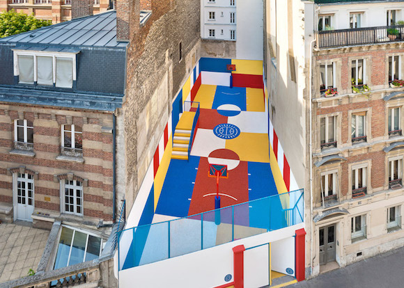 Multidisciplinary Ill Studio collaborates with French fashion brand Pigalle Basketball to create a multicoloured basketball court for the brand's SS15 campaign.
