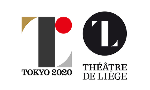 Kenjiro Sano's abandoned logo for the Tokyo 2020 Olympics logo (l) and the Theatre De Liege logo by Olivier Debie (r).