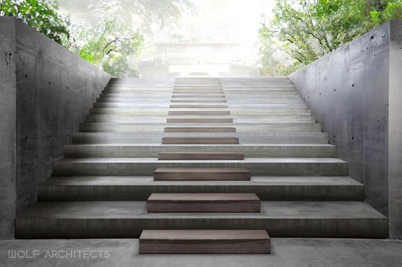 Wolf Architects, Artist Impression, Memorial Park Stairs, Thailand