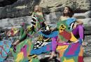200 Years of Australian Fashion. Models wearing Flamingo Park knits including Big  fish dress and hat 1979. Photographer: Linda Jackson
