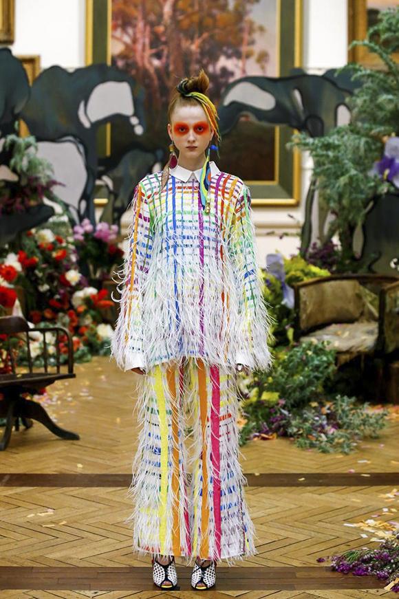 Rainbow tartan feather suit, Romance Was Born, Sydney est. 2005
