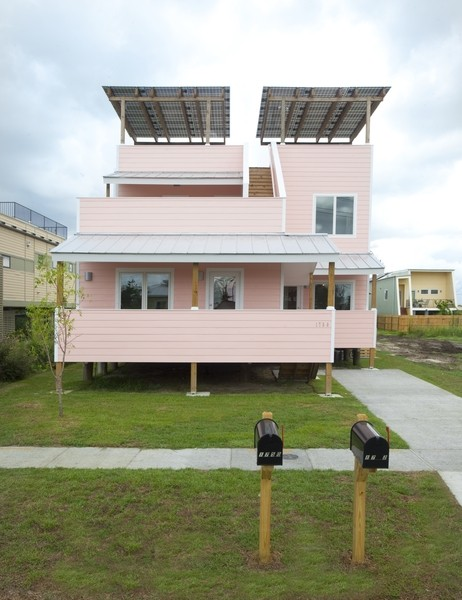 Exterior of Make It Right's first home, a 1,780-square-foot duplex with LEED Platinum certification (New Orleans, Louisiana, 2012). Architects: Frank Gehry and Gehry Partners. Photo: Chad Chenier