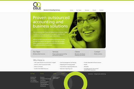 Cole Accounting website design and development | Desktop