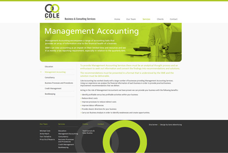 Cole Accounting website design and development | Desktop