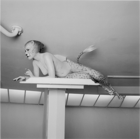 Aimee Mullins wearing fantastical bespoke prosthetic legs in Matthew Barney's 2002 work Cremaster. Production still photography Chris Winget. Courtesy of Gladstone Gallery, New York and Brussels.