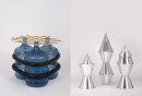 Left: Experiment 113 - Table - water bottle, bamboo, tyre (inner). Right: Experiment 134 - Stools - aluminium. © Field Experiments