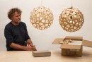 David Trubridge with his Coral lighting piece, and a replica on the right hand side.